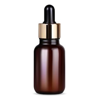 Butelka na serum z zakraplaczem. butelka z brązowego szkła z pipetą do leczenia kolagenem premium. fiolka z lekiem z kroplą do pielęgnacji twarzy z naturalnym olejkiem aromatycznym. ilustracja na białym tle