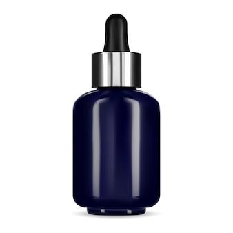Butelka na serum z zakraplaczem. fiolka z niebieskiego szkła, esencja kosmetyczna do twarzy. kolba po produkcie kolagenowym, naturalny pojemnik do pielęgnacji twarzy z zakraplaczem. butelka do olejków aromatycznych