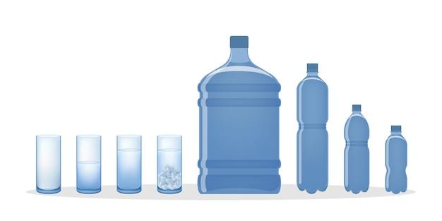 Butelka na wodę i szklanki. obiekty dla płynów.