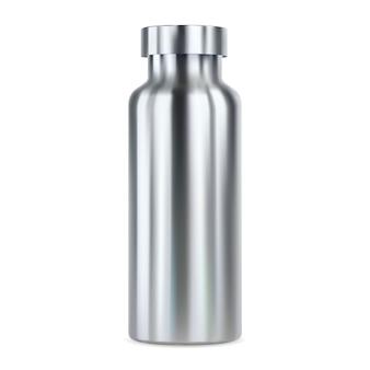 Butelka na wodę ze stali nierdzewnej. termos wielokrotnego użytku, ilustracja. puste pole produktu sportowego do promocji twojej marki. aluminiowy kanister z zakrętką. pusta puszka fitness