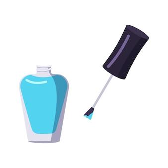 Butelka narzędzi do manicure z lakierem do paznokci dbająca o zdrowie rąk i paznokci ikony salon kosmetyczny płaska ilustracja
