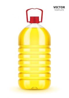 Butelka oleju roślinnego na białym tle