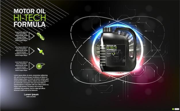 Butelka oleju silnikowego na tle tłok samochodowy, ilustracje techniczne. realistyczny obraz 3d. szablon reklam kanistrowych z planami logo marki.
