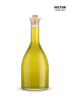 Butelka oliwy z oliwek na białym tle
