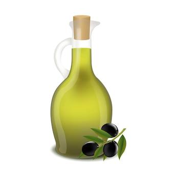 Butelka oliwy z oliwek samodzielnie białe tło z siatką gradientu