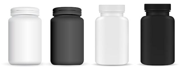 Butelka pigułki leku. pakiet witamin