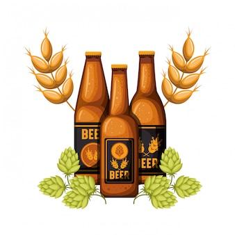 Butelka piwa i pszenicy ikona na białym tle
