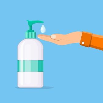 Butelka płynnego mydła antybakteryjnego z dozownikiem. człowiek mycie rąk. nawilżający środek dezynfekujący. dezynfekcja, higiena, koncepcja pielęgnacji skóry. ilustracja wektorowa w stylu płaski