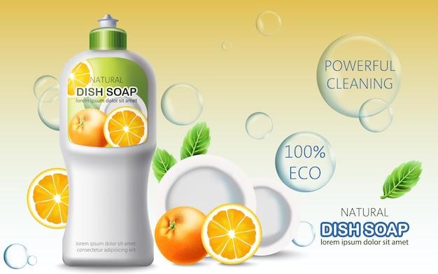 Butelka płynu do naczyń otoczona bąbelkami, pomarańczami i talerzami. ekologiczne, wydajne czyszczenie. miejsce na tekst. realistyczny