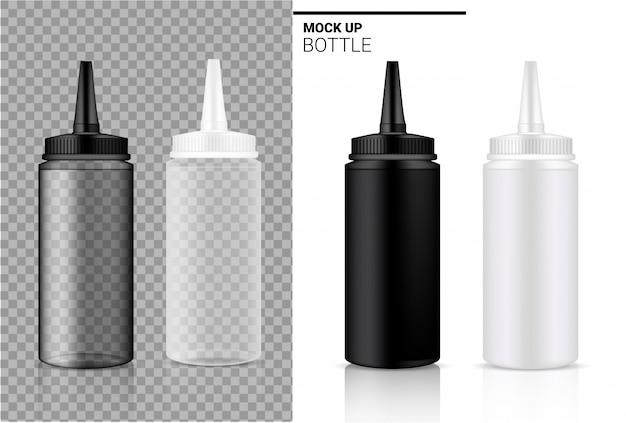 Butelka realistyczne przezroczyste białe, czarne i plastikowe ampułki lub opakowania z kroplomierzem.