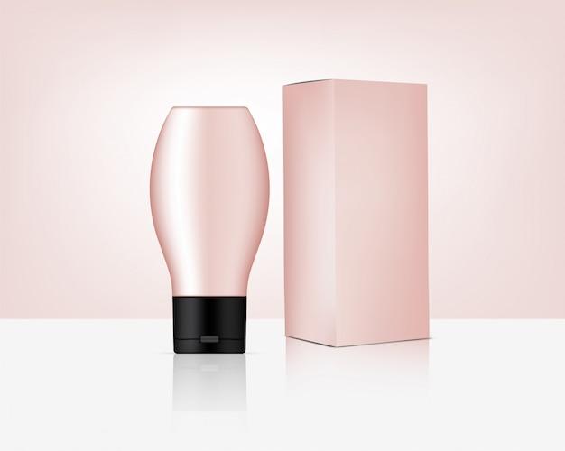 Butelka realistyczny różany złoty kosmetyk i pudełko dla skincare produktu ilustraci. opieka zdrowotna i medycyna.