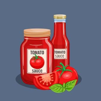 Butelka sosu pomidorowego.