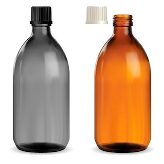 Butelka syropu medycznego. brązowe szkło farmaceutyczne