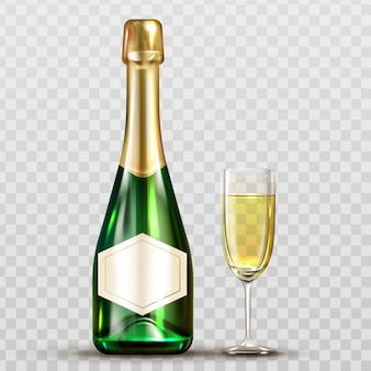 Butelka szampana i lampka na białym tle clipart