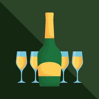 Butelka szampana i szklanki