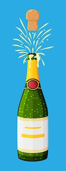 Butelka szampana otwierająca się z popem i korkiem.