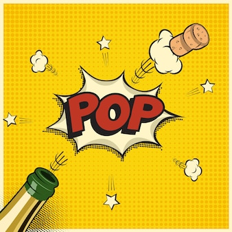 Butelka szampana z latającym korkiem i słowem pop