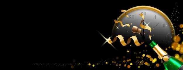 Butelka szampana z tłem bożego narodzenia lub nowego roku