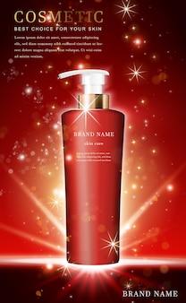 Butelka szamponu 3d kosmetycznego z błyszczącą czerwienią
