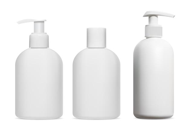 Butelka szamponu. balsam kosmetyczny, żel, pusty dozownik mydła, izolowany. projekt opakowania z tworzywa sztucznego na krem pod prysznic, produkt do kąpieli. szablon nawilżający, dozownik z pompką