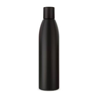 Butelka szamponu czarny plastikowy pojemnik kosmetyczny makieta tubki do pielęgnacji włosów
