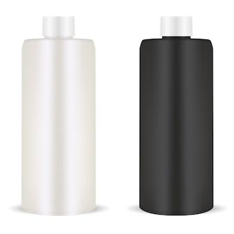 Butelka szamponu. pakiet z tworzywa sztucznego. kosmetyk