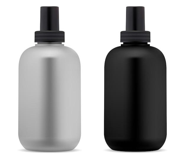 Butelka szamponu. puste czarne, białe opakowanie kosmetyczne. butelki na żel pod prysznic
