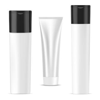 Butelka szamponu, tubka kremu, opakowanie kosmetyczne. żel do kąpieli lub pojemnik na mydło. pojemnik na produkty pod prysznic, perfumy do pielęgnacji twarzy.