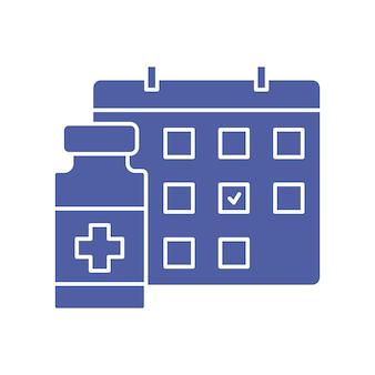 Butelka szczepionki i ikona kalendarza harmonogram szczepień czas na szczepienie koncepcja szczepień