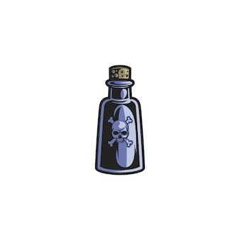 Butelka trucizny na białym tle