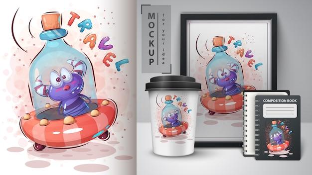 Butelka ufo plakat i merchandising