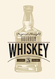 Butelka whisky i etykieta w stylu vintage