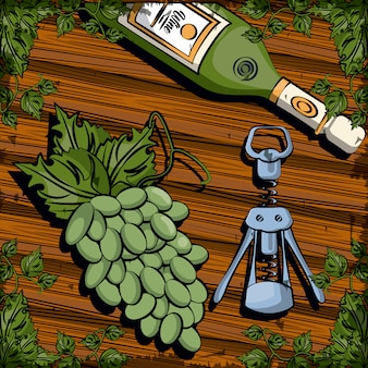 Butelka wina pić z korkociąg i winogron wektor ilustracja projektu