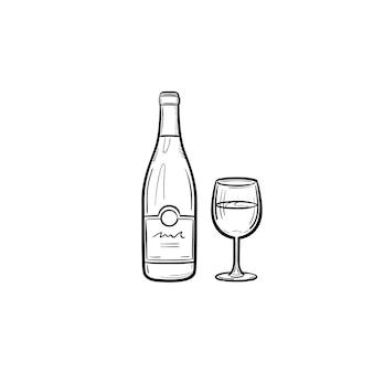 Butelka wina ręcznie rysowane konspektu doodle ikona. szkic ilustracji wektorowych butelki i kieliszek wina do druku, sieci web, mobile i infografiki na białym tle.