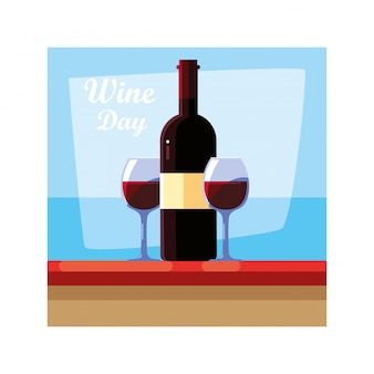 Butelka wina z lampką wina, etykieta na dzień wina