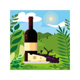 Butelka wina z serem i winogronami