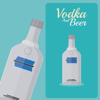 Butelka wódki na pomarańczowym tle