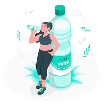 Butelka wodna pojęcie ilustracja