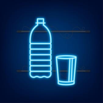 Butelka wody na ciemnym tle. projekt opakowania. pojemnik. neonowa ikona. ilustracja wektorowa.