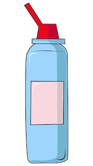 Butelka z aerozolem do nosa wektor medyczny balsam przeciw grypie i chorobom nosa