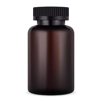 Butelka z bursztynem. brązowy słoik na pigułkę lub tabletkę. realistyczny pakiet leków z tworzywa sztucznego. szablon kontenera apteki