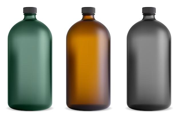 Butelka z czarnego szkła. słoik z syropem medycznym. pojemnik na witaminy farmaceutyczne. brązowy szablon chemiczny z przezroczystą fiolką z zakrętką w stylu vintage. szampon kosmetyczny, sok spa