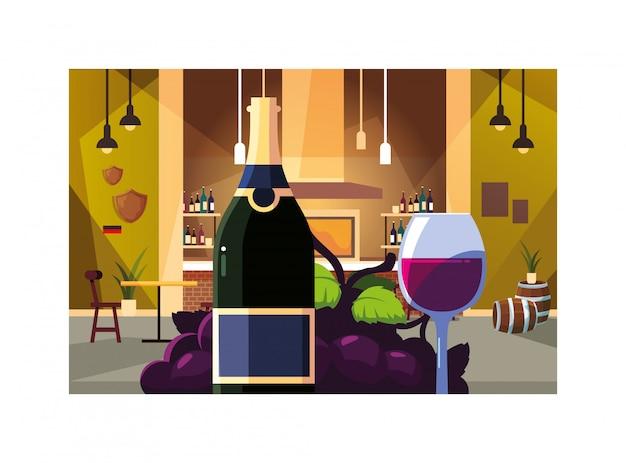 Butelka z kieliszkiem wina i winogron, dzień wina