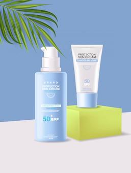 Butelka z kremem przeciwsłonecznym 3d realistyczna na białym tle, geometryczna scena, krem do ochrony przeciwsłonecznej, ilustracja letnich kosmetyków spf 50