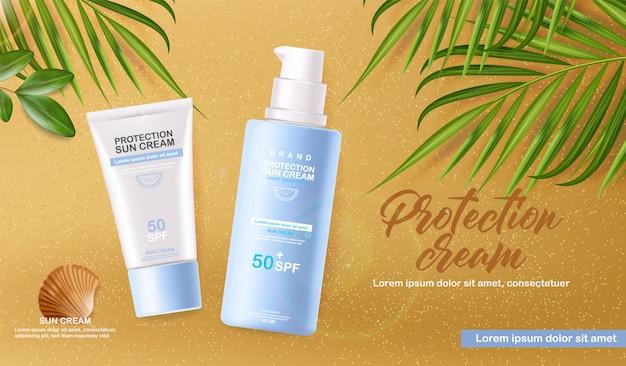 Butelka z kremem przeciwsłonecznym 3d realistyczna na białym tle, tropikalna plaża banner, krem do ochrony przeciwsłonecznej, ilustracja letnich kosmetyków spf 50