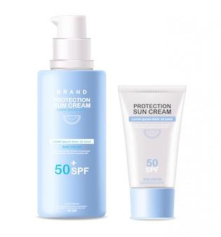 Butelka z kremem przeciwsłonecznym 3d realistyczny na białym tle, krem ochronny do opalania, ilustracja letnich kosmetyków spf 50