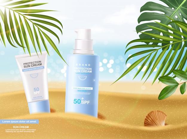 Butelka z kremem przeciwsłonecznym 3d realistyczny na białym tle, tropikalny baner, krem ochronny do opalania, ilustracja letnich kosmetyków spf 50