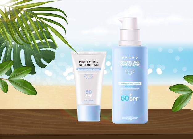 Butelka z kremem przeciwsłonecznym 3d realistyczny na białym tle, tropikalny baner, krem ochronny do opalania, letnie kosmetyki spf 50
