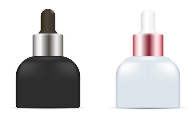 Butelka z kroplomierzem oleju. zestaw kosmetyków kosmetycznych serum.