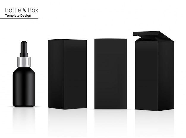 Butelka z kroplomierzem realistyczny kosmetyk i 3 pudełka po stronie do pielęgnacji skóry niezbędny towar lub ilustracja medycyny. projektowanie koncepcji opieki zdrowotnej, medycyny i nauki.